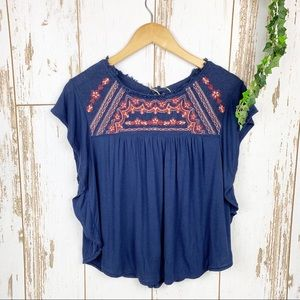 AEO Navy Blue Woven Embroidered Yoke Flutter Tee